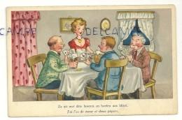 """Humour. Hommes Qui Jouent Aux Cartes, Jeune Fille, Bière. """"J'ai L'as De Coeur Et Deux Piques"""" - Cartes à Jouer"""