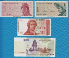LOT 4 BILLETS: INDONESIE-CAMBODGE-CROATIE 1964-2001  NEUF-UNC - Monnaies & Billets