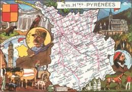 """/ CPSM FRANCE 65 """"Hautes Pyrénées"""" / CARTE GEOGRAPHIQUE - Vic Sur Bigorre"""