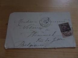 Fragment Enveloppe Trajet Paris - Wemmel Près De Jette (B), - 1876-1898 Sage (Type II)