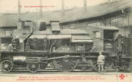 """CPA TRAIN / LOCOMOTIVE """"machine à 2 Essieux Accouplés Et Bogie"""" - Trains"""