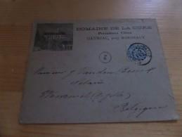 Enveloppe Trajet Gauriac (F) - Wemmel (près De Jette) (B), Flamme Médaille D'or Expo Univ PARIS 1900, - 1900 – Paris (France)