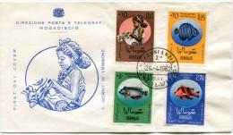 SOMALIE ENVELOPPE 1er JOUR DES N°19/21 ENFANT ET POISSONS OBLITERATION 1er JOUR DU 26-4-1962 - Somalie (1960-...)