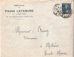 1923 - ENVELOPPE COMMERCIALE METAUX PIERRE LEFEBVRE Rue Des Tourelles PARIS Avec Correspondance Voir Scan - Postmark Collection (Covers)