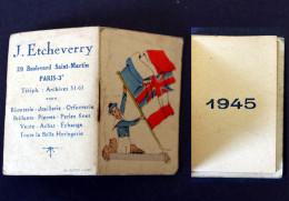 Calendrier  Bijou Publicitaire  1944 Bijouterie Etcheverry Bld St Martin à Paris - Calendriers
