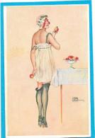 """G. LEONNEC. """"  Intimité Du Boudoir  """" Femme Croquant La Pomme En Nuisette Et Bas Noirs - Künstlerkarten"""