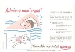 """Buvard LESUCRE L´aliment Du Muscle C´est LESUCRE Buvard N°10 Admirez Mon""""crawl"""" - Sucreries & Gâteaux"""