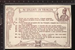 393F/113  CPA CARTOLINA POSTALE 1915/18 CON DECALOGO AI SOLDATI IN TRINCEA 142° REGGIMENTO FANTERIA CARTONCINO MARRONE - Régiments