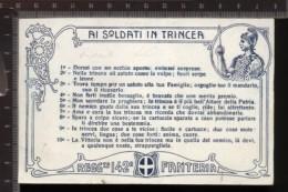 393F/114 CPA CARTOLINA POSTALE 1915/18 CON DECALOGO AI SOLDATI IN TRINCEA 142° REGGIMENTO FANTERIA CARTONCINO BLU - Régiments