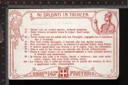 393F/115 CPA CARTOLINA POSTALE 1915/18 CON DECALOGO AI SOLDATI IN TRINCEA 142° REGGIMENTO FANTERIA CARTONCINO ROSSO - Régiments
