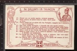 393F/127 CPA CARTOLINA POSTALE 1915/18 CON DECALOGO AI SOLDATI IN TRINCEA 142° REGGIMENTO FANTERIA CARTONCINO CARMINIO - Régiments