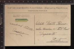 393F/128 CPA CARTOLINA POSTALE PERIODO 1915/18 114° REGGIMENTO FANTERIA BRIGATA MANTOVA GIALLO VERDE - Udine