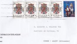 CARTA CIRCULADA CON VIÑETA CARTEL FIESTAS ALCOY AÑO 2001 Y 4 SELLOS ESCUDO NACIONAL - 1931-Hoy: 2ª República - ... Juan Carlos I