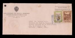 E)1949 DOMINICAN REPUBLIC, UNIVERSITY OF SANTO DOMINGO, CHURCH OF SAN FRANCISCO RUINS, PIGEON AND GLOBE, CIRCULATED COVE - Dominican Republic