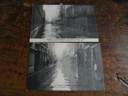 Paris Inondations Inondation 1910 Lot 2 Carte Rue Saint Andre Des Arts - Alluvioni Del 1910