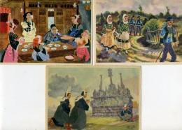 Illustrateur - HOMUALK - Lot De 3 Cartes De Bretagne - Homualk