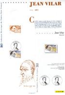 "FRANCE 2001 : Document Philatélique Officiel + KDO "" JEAN VILAR "". N° YT 3398. DPO - Cinema"
