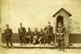 France Lille Caserne Vandamme Groupe En Uniforme Ancienne Photo Amateur 1896 - Old (before 1900)