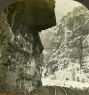 USA Colorado Clear Creek Canyon Hanging Rock Railway Ancienne Photo Stereoscope Kelley 1906 - Photos Stéréoscopiques