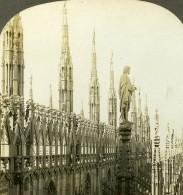 Italie Milan Fleches Et Statues De La Cathedrale Ancienne Photo Stereoscope Kelley 1900 - Stereoscopic