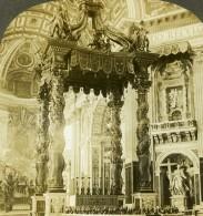 Italie Rome Autel De La Cathedrale Saint Pierre Ancienne Photo Stereoscope Kelley 1900 - Stereoscopic