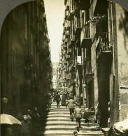 Italie Naples Rue Etroite Animation Ancienne Photo Stereoscope Kelley 1900 - Stereoscopic