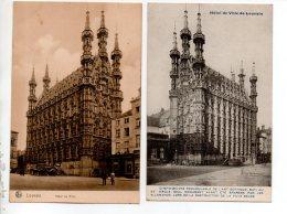 BELGIQUE . BELGIË . LEUVEN . LOUVAIN . L'HÔTEL DE VILLE . 2 CARTES POSTALES - Réf. N°15806 - - Leuven