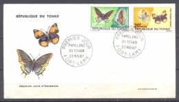 Tchad FDC Enveloppe Premier Jour YT N°138-139 Papillons Du Tchad - Tsjaad (1960-...)