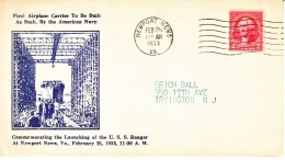 U.S.   COVER  U.S.S. RANGER  FIRST  AIRPLANE  CARRIER  1933 - United States