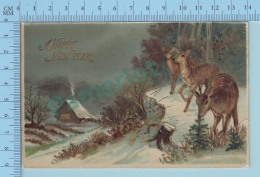 Germany Glossy , A Happy New Year, Wood Deer, Cerf  On A Glossy Card , 2 Scans - Non Classés