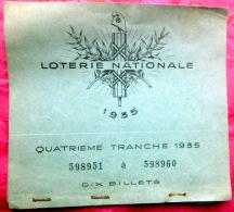 LOTERIE NATIONALE 1935  CAHIER  DE 9 BILLETS SE SUIVANT  UN NUMERO SEMBLE AVOIR ETE VENDU - Lottery Tickets