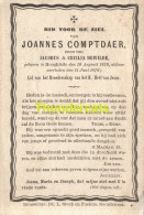 BIDPRENTJE JOANNES COMPTDAER JACOBUS CECILIA DEWILDE HOOGHLEDE 1829 1876 LITHO. ROUSSEALRE DR L STOCK - Hooglede