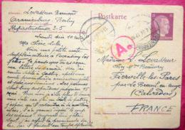 ENTIERS POSTAUX DEUX POSTKARTE A L'EFFIGIE DE HITLER AVEC CACHET ROUGE Ae DE CENSURE  1944 2 PIECES - Germany