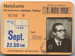 GERMANY, MUNCHEN ,NETZKARTE  1968 STUDENT - Abonnements Hebdomadaires & Mensuels