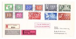 """Schweiz Werbe 9.5.1945 Bern 1 Exprès R-Brief """"1.Tag Der Waffenruhe"""" Mit Pax 5 Rp Bis 2Fr FDC Brief Nach Basel - Suisse"""