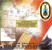 346 - Etiquette Souvenir ISS IWO JIMA Maiden Deployment March November 2003 - Support Enduring Freedom Irak/Liberia - Bateaux