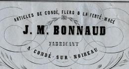 LETTRE DE VOITURE ROULAGE TRANSPORT J.M. BONNAUD  CONDE SUR NOIREAU LA FERTE MACE ET FLERS  1850 P. MONTLIEU V.SCANS - 1800 – 1899