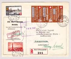 Schweiz Werbe 15.6.1942 Basel 2 R-Brief Nach Zagreb Kroatien Retour Nach Basel Mit B15+B16 FDC Und Z36c - Schweiz