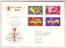 Schweiz Werbe 16.5.1949 Bern Ausgabetag #291-293 + 295 FDC R-Brief Nach Gand Belgien - Schweiz