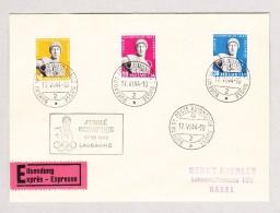 Schweiz Werbe 17.6.1944 Bureau De Poste Automobile #259x-261x Serie Exprès Brief Nach Basel - Schweiz