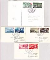 Schweiz Werbe 9.8.1947 Jübiläumsfahrt Zürich-Baden 100J. Schweizerbahn Lot 3 Briefli Und Karte Nach Brugg-Windisch - Schweiz