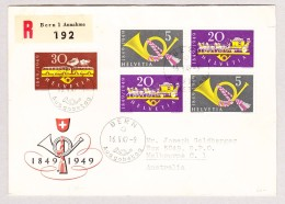 Schweiz Werbe 16.5.1949 Bern Ausgabetag FDC R-Brief Nach Melbourne Australien Mit #291-293 - Schweiz