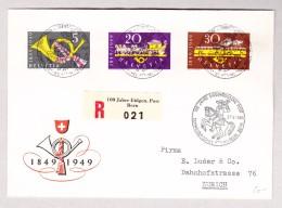 Schweiz Werbe 16.5.1949 PTT Museum 100J Eidg.Post FDC R-Brief Nach Zürich Mit #291-293 - Schweiz