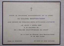 Colonel Bastien Thiry 2 ème Anniversaire De Sa Mort Eglise Saint Etienne Du Mont - Documents