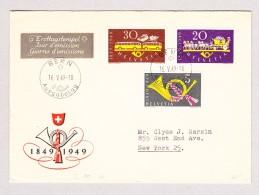Schweiz Werbe 16.5.1949 Bern Ausgabetag FDC Brief Nach New-York Mit #291-293 - Schweiz