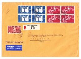 Schweiz Werbe 13.3.1948 Lausanne 2 Flugpost R-Brief Nach Schanghai China Transitst. New-York - Schweiz