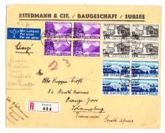 Schweiz Werbe 1.8.1938 Sursee Luftpost R-Brief Nach Johannesburg - Schweiz
