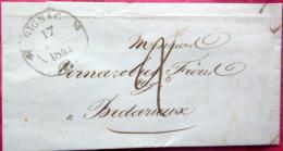 46 GIGNAC LETTRE DE GIGNAC A BEDARIEUX  TRES LISIBLES 1842 - Marcophilie (Lettres)