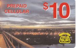 TARJETA DE SURINAM DE TELE SUR DE $10 VISTA CIUDAD - Surinam