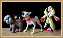 Lot 6 Figurines Disney McDonald's : Les 101 Dalmatiens : Le Colonel - Pongo - Cruella D'enfer Et 3 Dalmatiens Peluche - McDonald's